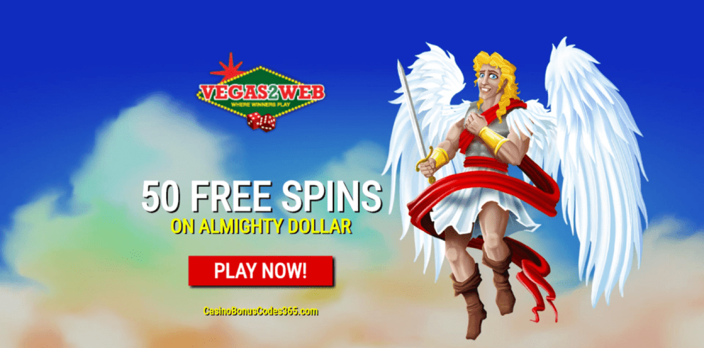 Vegas2Web Casino 50 FREE Spins Exclusive Deal Rival Gaming Almighty Dollar
