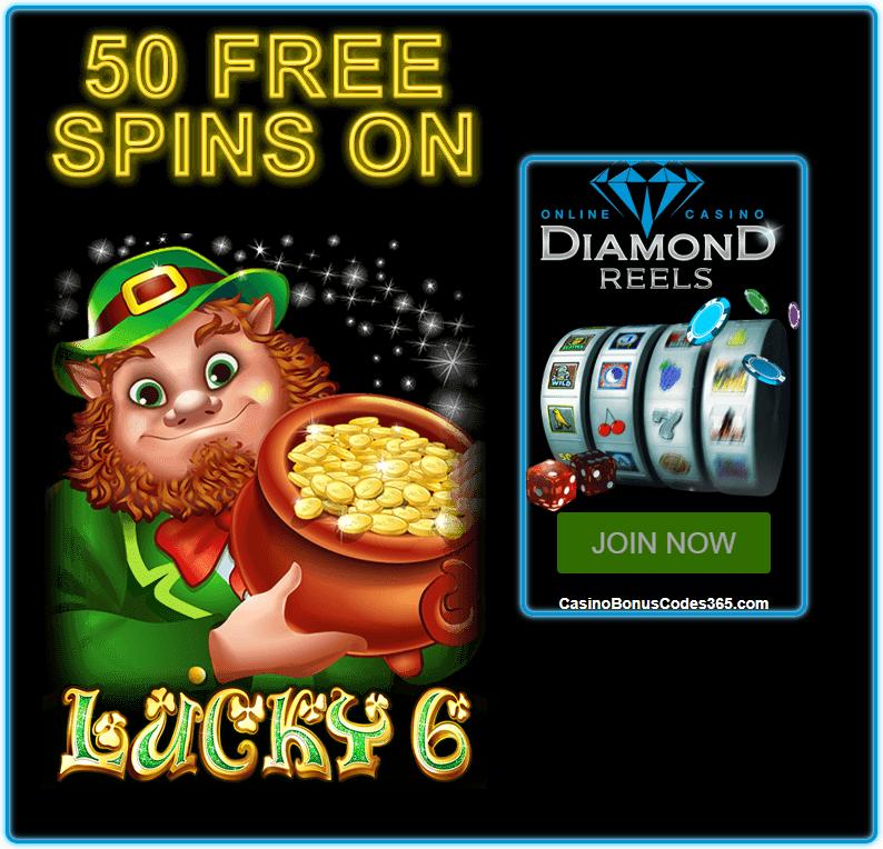 Diamond Reels Casino 50 FREE Lucky 6 RTG