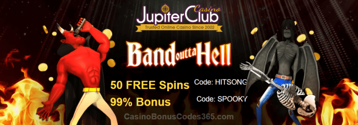 Jupiter Club Casino 50 FREE Spins plus 99% Bonus New Game Saucify Band Outta Hell Offer