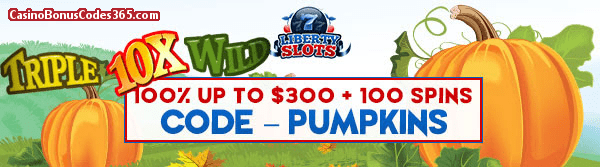 Liberty Slots 100% up to $300 plus 30 FREE Triple 10x Wild Spins Special Promo