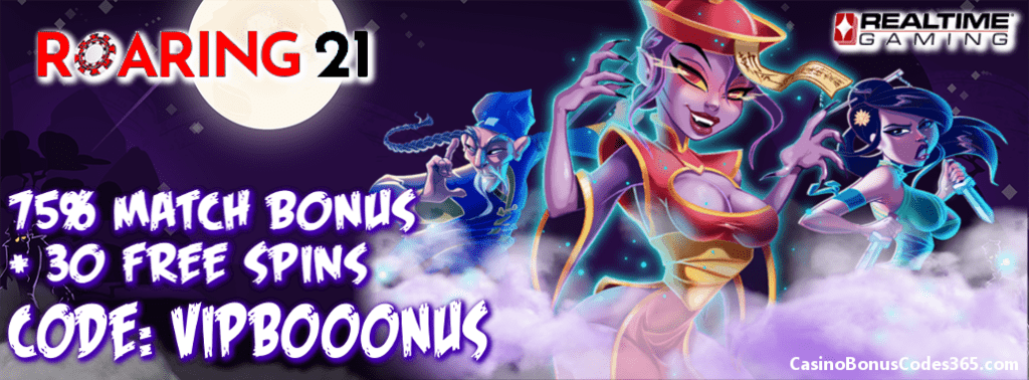Roaring 21 New Game Promo 75% Match plus 30 FREE i Zombie Spins