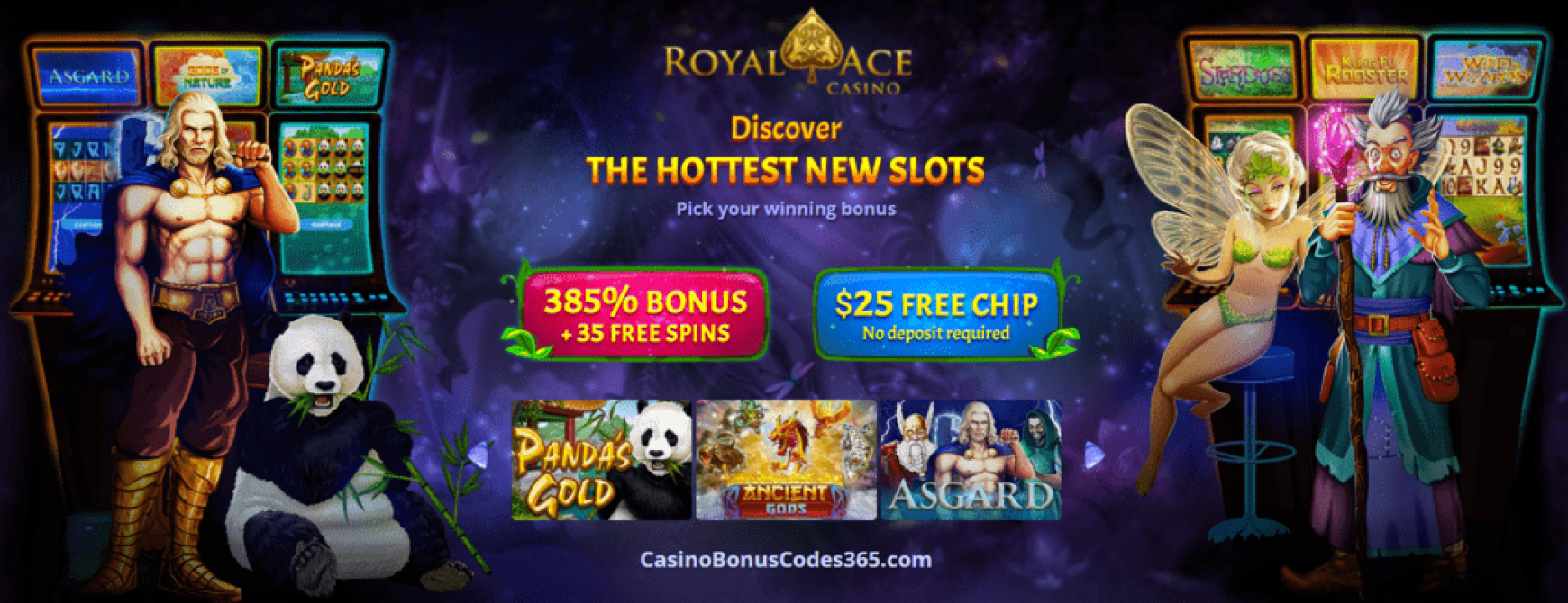 Royal Ace Casino 385% Match Bonus plus 35 FREE Spins with $25 FREE Chip on Top