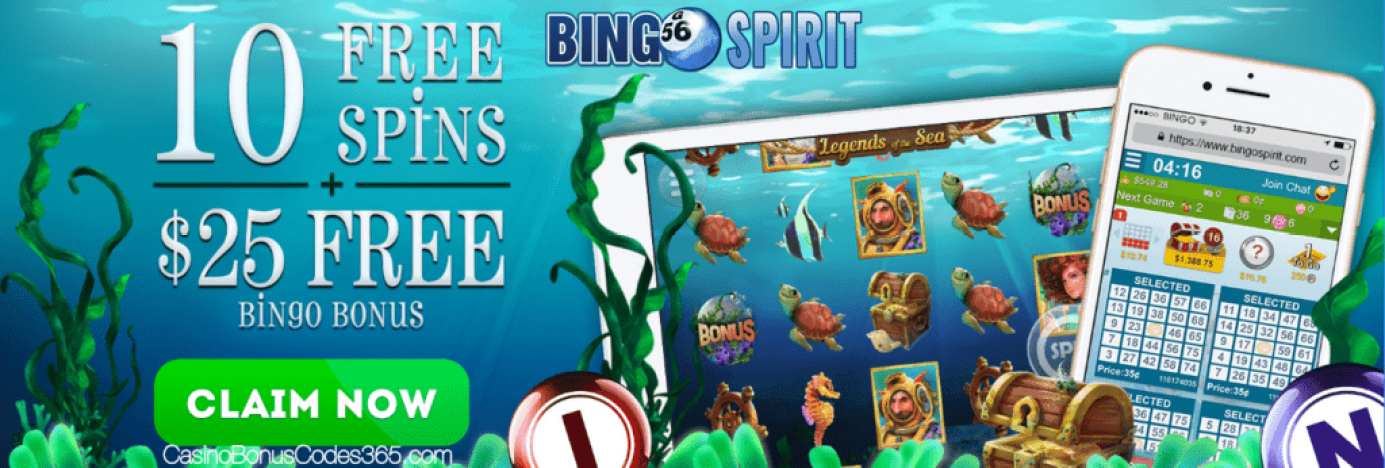BingoSpirit 10 FREE Legends of The Sea Spins plus $25 Bingo FREE Chip Special Offer