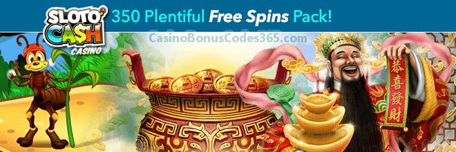 SlotoCash Casino 350 Plentiful FREE Spins Monthly Pack