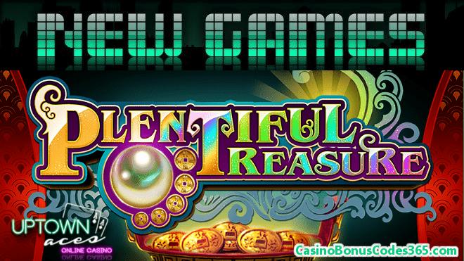 Uptown Aces RTG Plentiful Treasure New Game 111% Match Bonus plus 33 FREE Spins