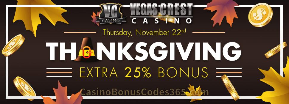 Vegas Crest Casino Extra 25% Thanksgiving Bonus