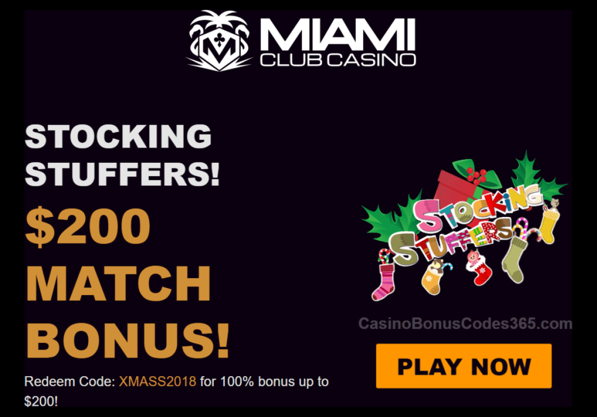 Miami Club Casino WGS Stocking Stuffers 100% up to $200