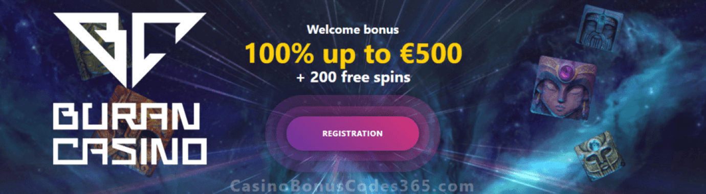 Buran Casino 100% Match up to €500 plus 200 FREE Spins Welcome Package