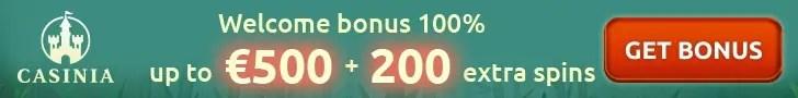 Casinia Casino 100% Match plus 200 FREE Spins Welcome Bonus
