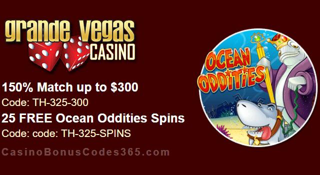 Grande Vegas Casino 150% up to $300 Bonus plus 25 FREE Spins on Ocean Oddities Special Promo