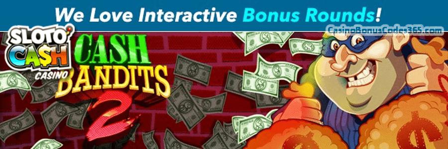SlotoCash Casino Interactive Bonus Rounds 225% Daily Match plus 50 FREE Spins February Promo
