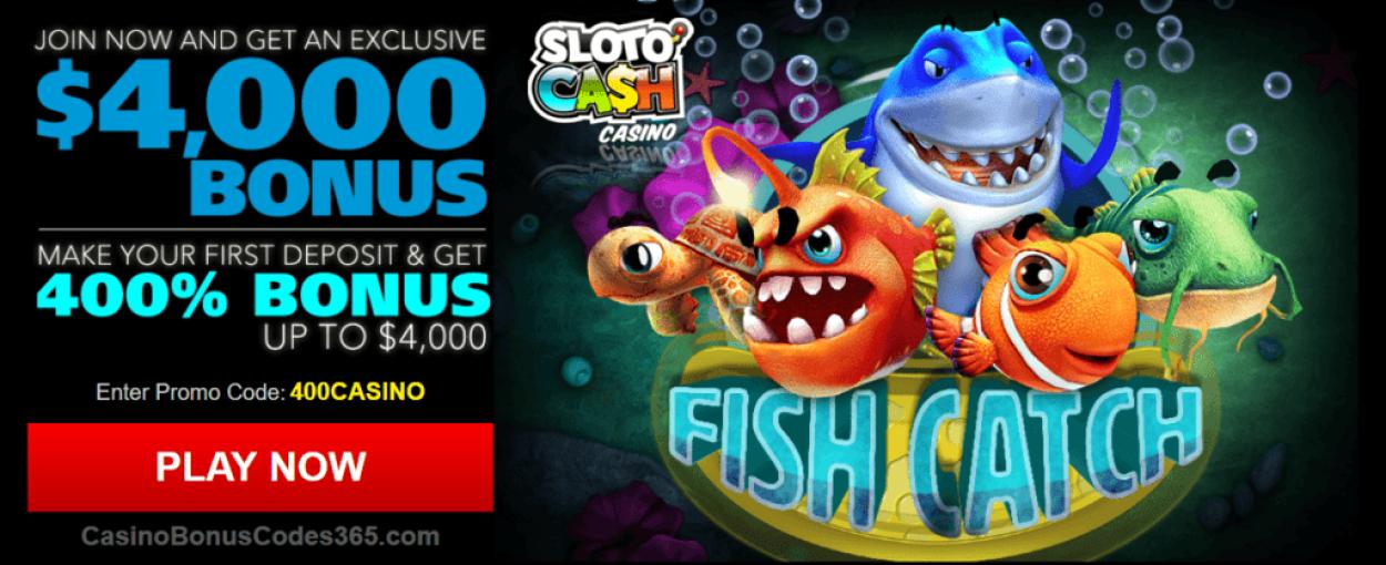 SlotoCash Casino $4000 New RTG Game Welcome Bonus RTG Fish Catch