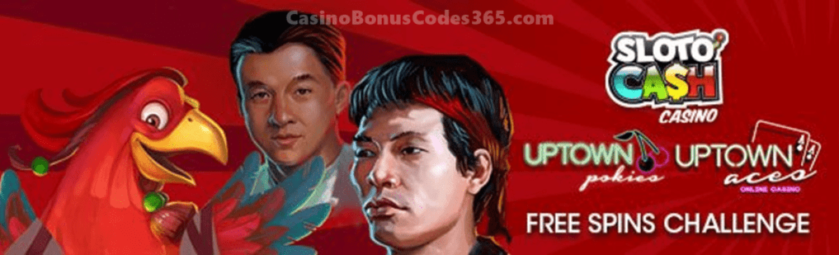 SlotoCash Casino, Uptown Aces and Uptown Pokies Ultimate FREE Spins Challenge Pack