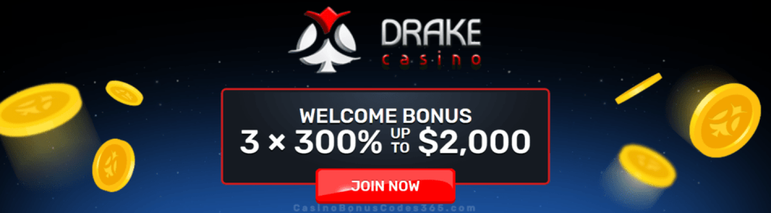 Drake Casino $6000 Bonus or 180 FREE Spins Welcome Package