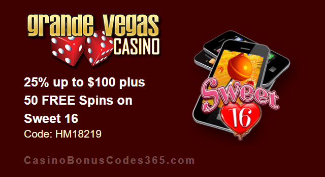 Grande Vegas Casino 25% up to $100 plus 50 FREE RTG Sweet 16 Spins Special Promo