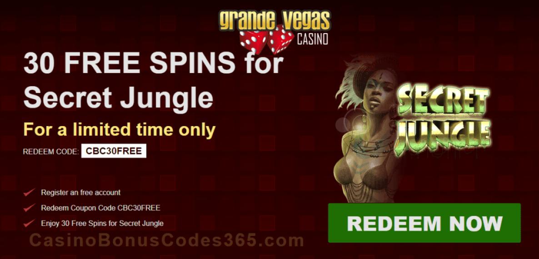 Grande Vegas Casino RTG Secret Jungle Exclusive 30 FREE Spins