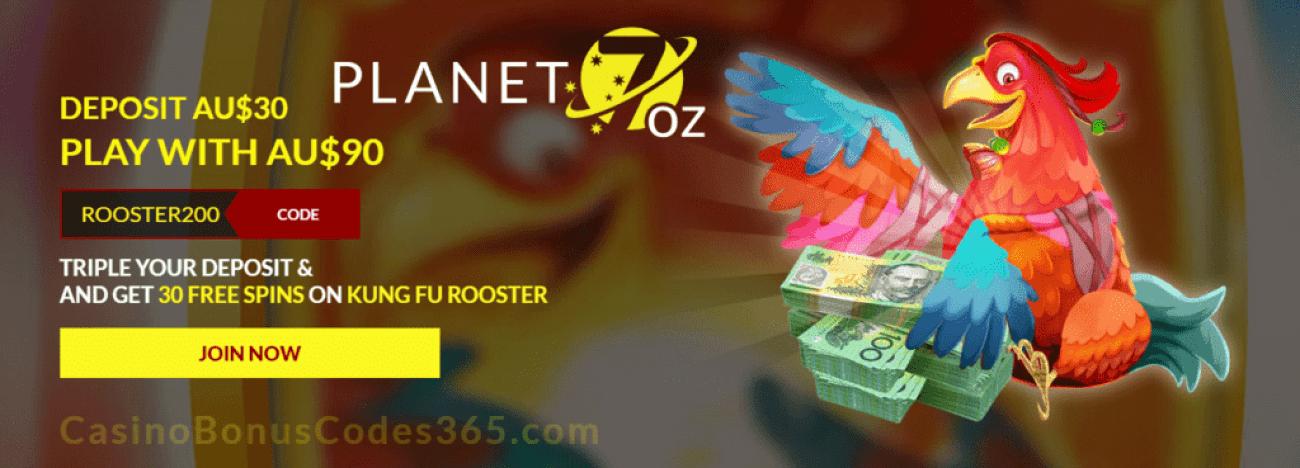 Planet 7 OZ Casino 200% Match Bonus plus 30 FREE RTG Kung Fu Rooster Spins
