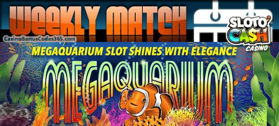 SlotoCash Casino March Underwater Treasures Weekly Match Bonus RTG Megaquarium