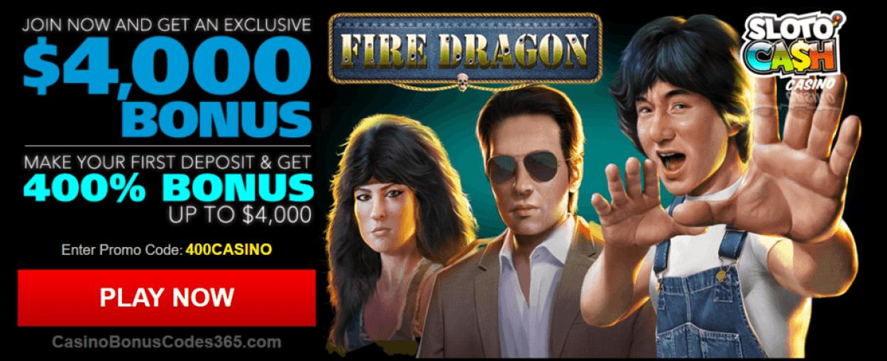 SlotoCash Casino RTG Fire Dragon 400% Welcome Bonus