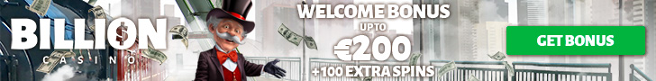 Billion Casino Welcome Package €200 Bonus plus 100 Extra Spins