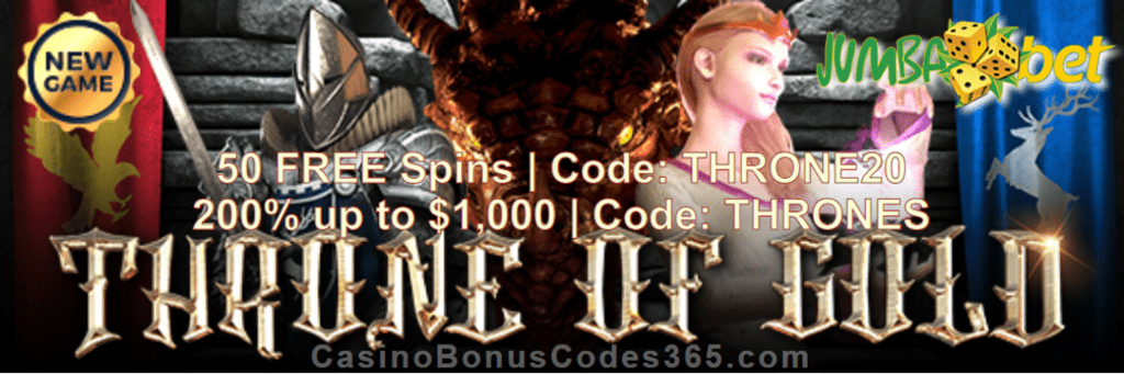 Jumba Bet Throne Of Gold 50 Free Spins Plus 200 Match Bonus