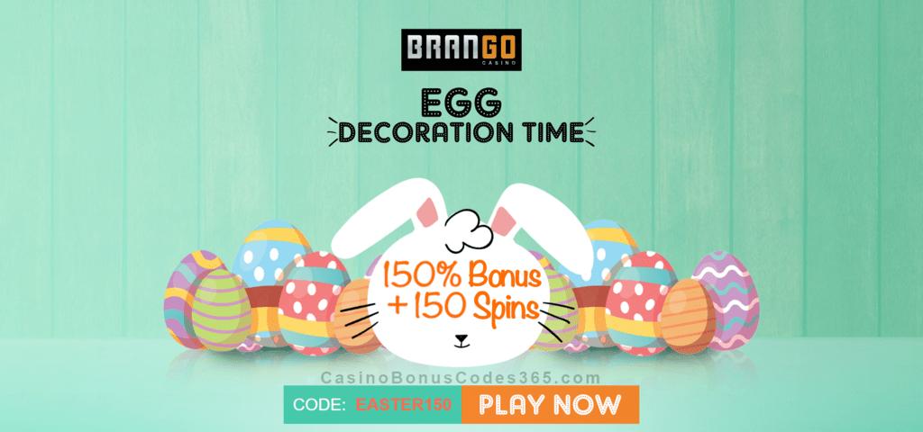Casino Brango 150 Match Plus 150 Free Spins Easter Offer Casino Bonus Codes 365