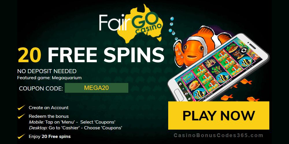 Fair Go Casino 20 No Deposit FREE Spins on Megaquarium