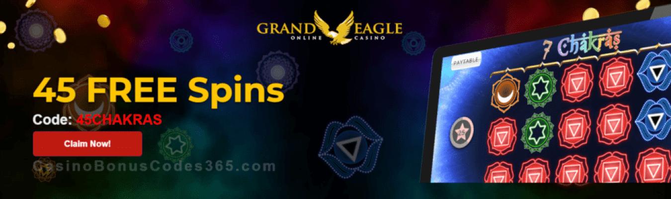 Grand Eagle Casino Exclusive 40 FREE Saucify 7 Chakras Spins