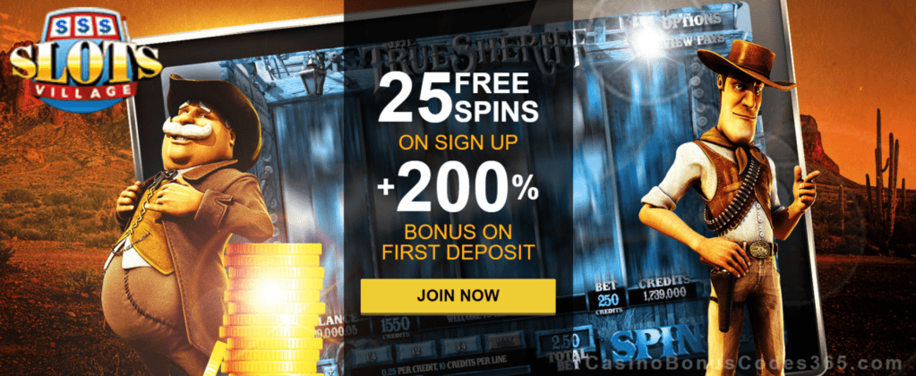 Slots Village 25 FREE Spins plus 200% Match Welcome Offer