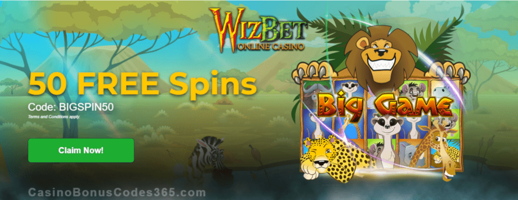 WizBet Online Casino 50 FREE Spins on Saucify Big Game Exclusive Promo