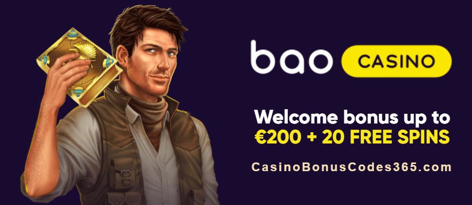 Bao Casino 100% Match Bonus plus 20 FREE Spins Welcome Package Book of Dead