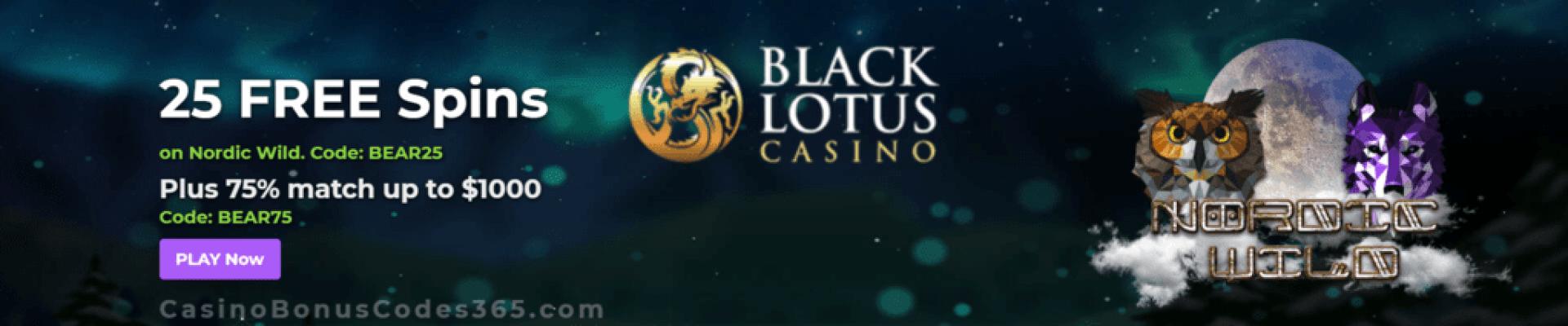 Black Lotus Casino 25 FREE Saucify Nordic Wild Spins plus 75% Bonus Special Promo