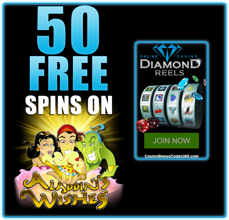 Diamond Reels Casino RTG Aladdin's Wishes Exclusive 50 FREE Spins