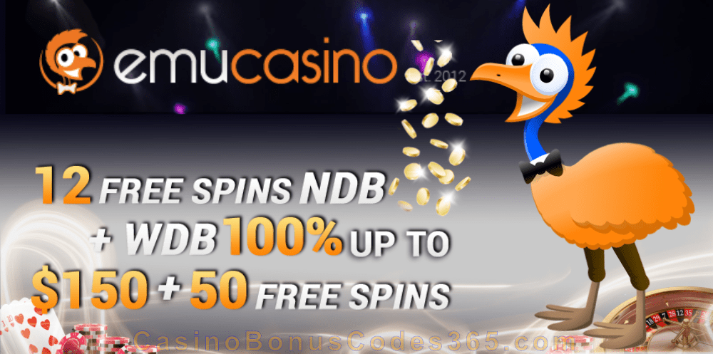 EmuCasino 100% Match plus 50 FREE Spins Welcome Pack