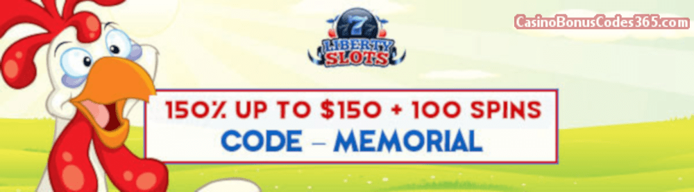 Liberty Slots 150% up to $150 Bonus plus 100 FREE Spins WGS Funky Chicken Special Promo