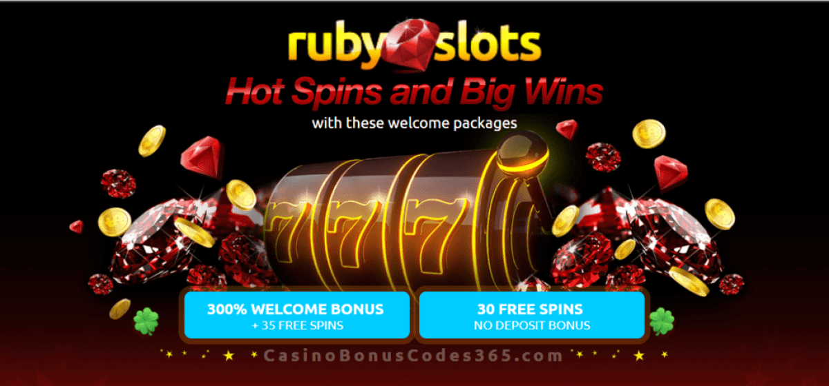 RubySlots 300% Match Bonus plus 65 FREE Spins Welcome Package RTG Plentiful Treasure Cubee