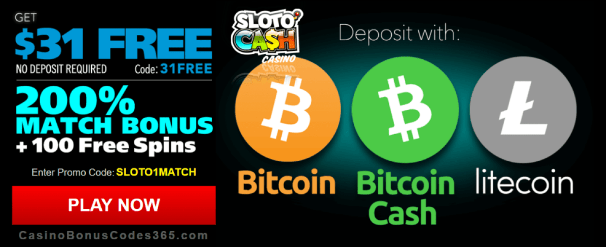 Sloto Cash Casino Exclusive $31 FREE Chip 200% Match Bonus plus 100 FREE Spins Crypto Welcome Package