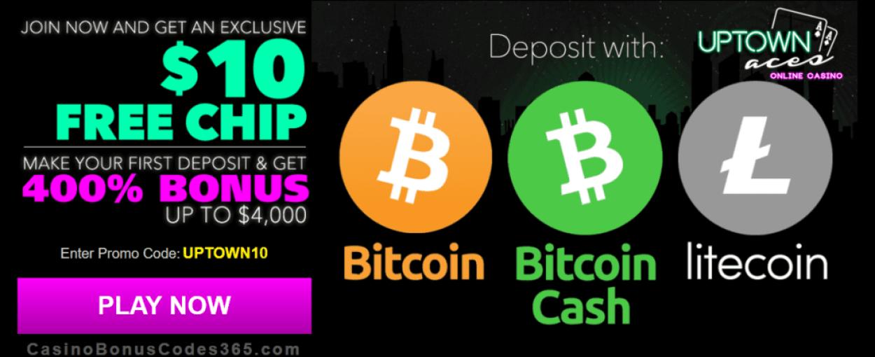 Uptown Aces $10 FREE Chips plus 400% Bonus Crypto Pack