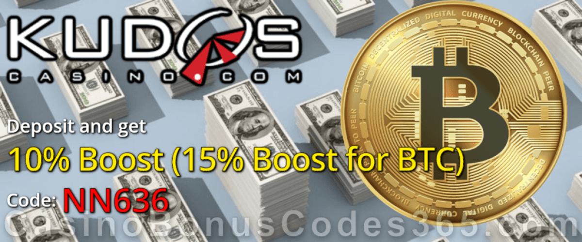 Kudos Casino 10% Deposit Boost BTC 15%
