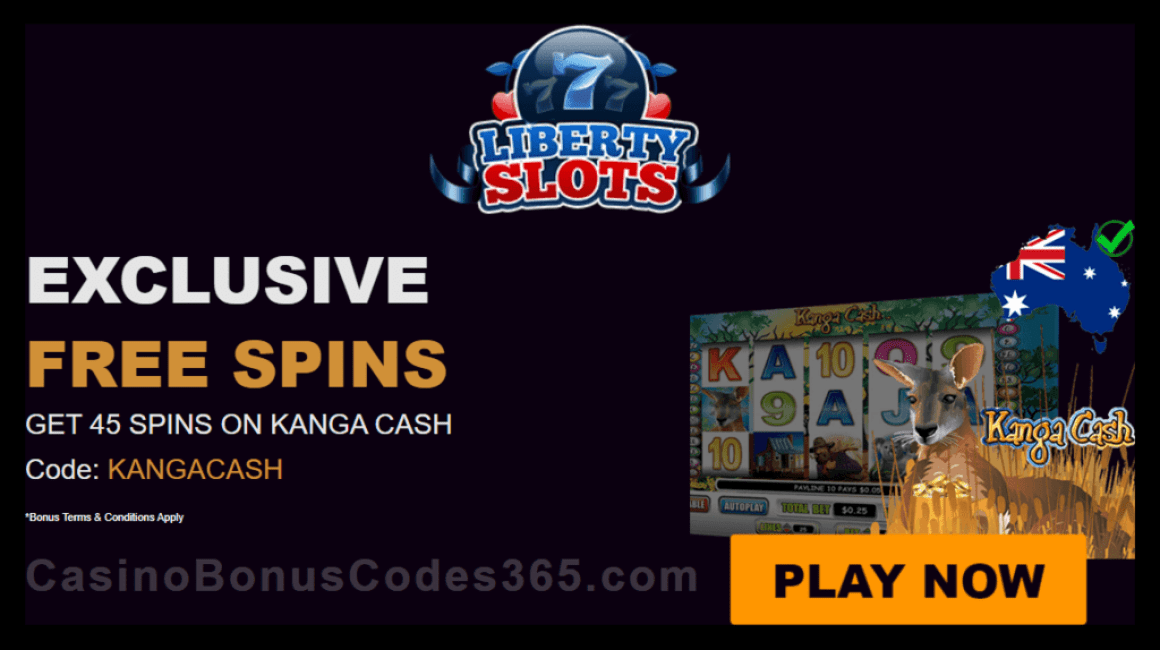Liberty Slots Exclusive 45 FREE Spins on WGS Kanga Cash
