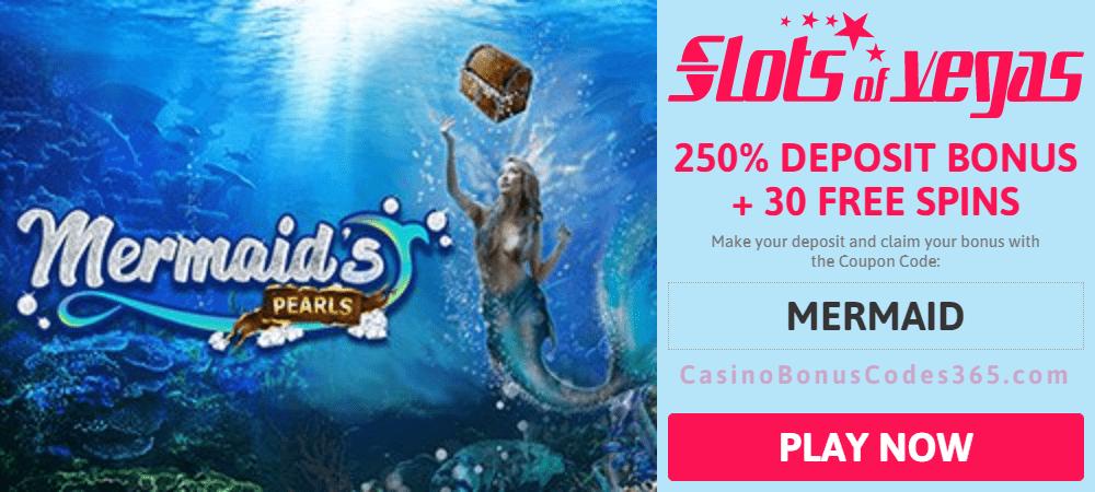 Slots of Vegas rtg Mermaid's Pearls 250% Bonus plus 30 FREE Spins New Game Offer