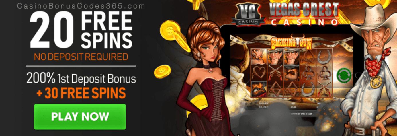 Vegas Crest Casino 50 FREE Spins on Rival Gaming Smoking Gun plus 200% Match Bonus Monthly Offer