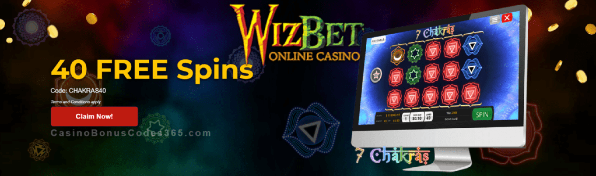WizBet Online Casino 40 FREE Saucify 7 Chakras Spins Exclusive Deal