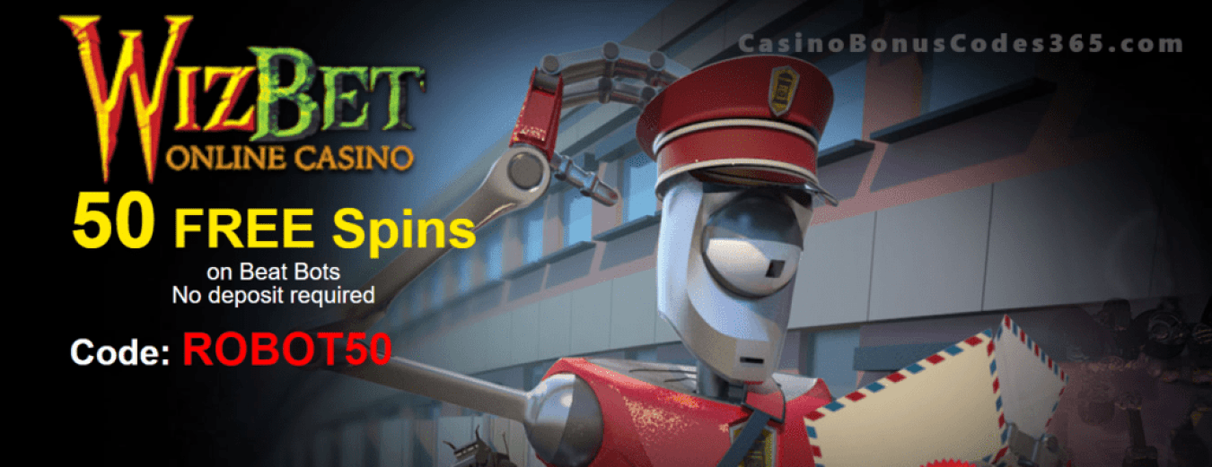 WizBet Online Casino 50 FREE Spins on Saucify Beat Bots Exclusive Promo