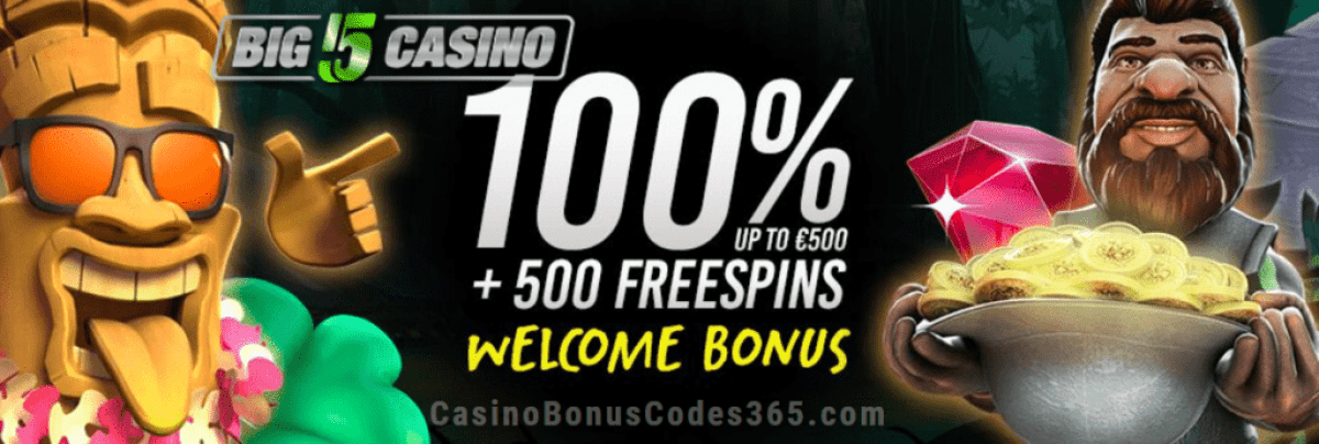 Big5Casino 100% Match plus 500 FREE Spins Welcome Package