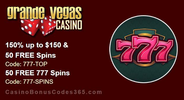 Grande Vegas Casino RTG 777 150% Bonus plus 150 FREE Spins New Game Promo