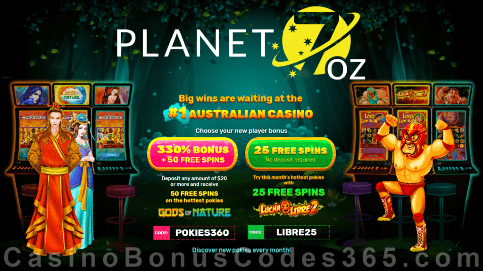 Planet 7 OZ Casino 330% Match Bonus plus 75 FREE Spins Special Deal RTG Gods of Nature Lucha Libre 2