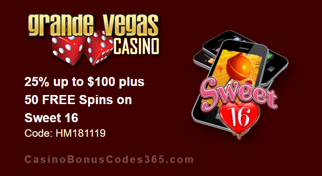 Grande Vegas Casino 25% up to $100 plus 50 FREE Spins on Sweet 16 Special Deal
