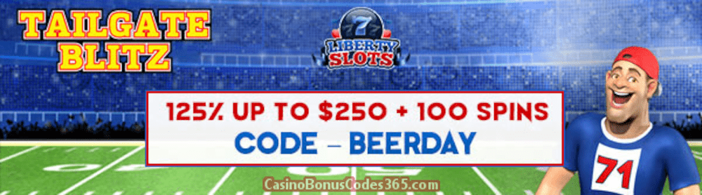 Liberty Slots 125% up to $250 plus 100 FREE WGS Tailgate Blitz Spins Special Deal