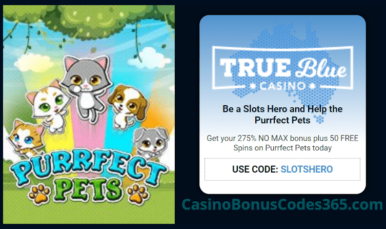 True Blue Casino 275% No Max Bonus plus 50 FREE RTG RTG Purrfect Pets Spins Slots Hero Special Promo